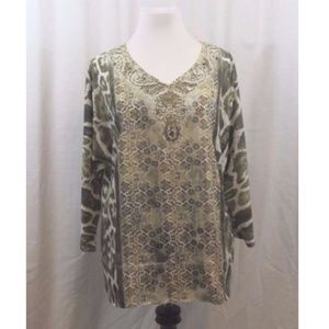 Chico's Green White Embellished Dolman Sleeve Top